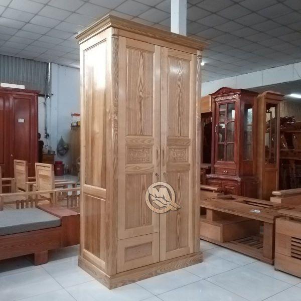Tủ quần áo 2 cánh bằng gỗ với thiết kế đơn giản